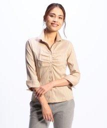 NARA CAMICIE/サテンストライプスタンドカラー七分袖シャツ/501293763
