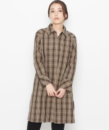 AIRPAPEL/【洗える】コットンチェック ロングシャツ/501304104