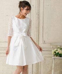 form forma/【結婚式・ウェディングドレス】レーススリーブ ウェストタックフレアワンピース/501289498