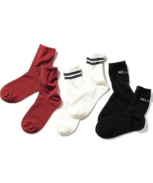 デビロッククルーソックス3足セット 靴下レディース001S(16-18cm)【devirock】
