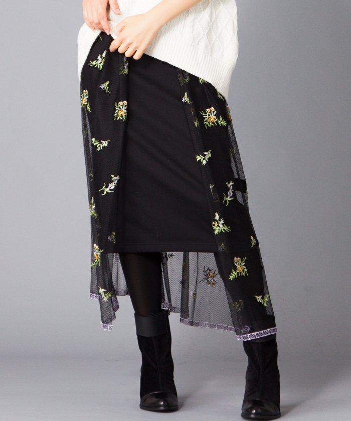 【B7】フラワー刺繍オーバースカート×無地タイトスカ−ト