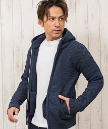 CavariA/CavariA【キャバリア】ミックス杢ジャガード編み長袖ジップアップニットパーカー/501310411