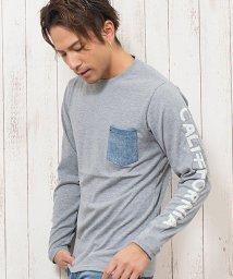 CavariA/CavariA【キャバリア】サガラ刺繍デニムポケット付きクルーネック長袖Tシャツ/501310413