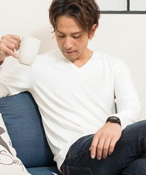 CavariA/CavariA【キャバリア】ワイドテレコVネック長袖Tシャツ/501310415