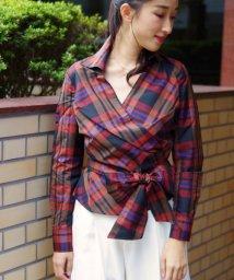 NARA CAMICIE/イタリアンチェックカシュクールシャツ/501310696