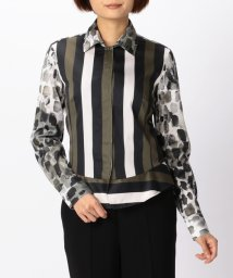 NARA CAMICIE/ストライプ&レオパードプリント裾切り替えシャツ/501310698