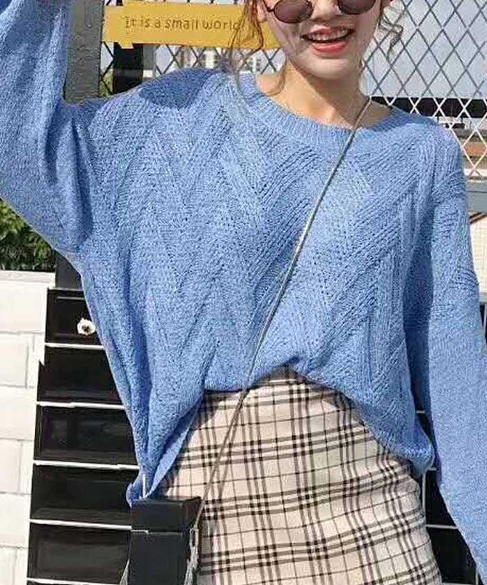 ニットトップス レディース 薄手 ゆるニットセーター 透かし編み ロング丈カットソー