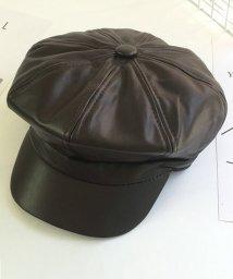 miniministore/キャスケット帽子 レディース 小物 CAP フェイクレザーキャップ 小顔効果/501312811