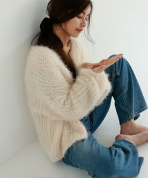 marjour/FEATHER KNIT CARDIGAN/501298795