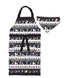 COLORFUL CANDY STYLE/子どもエプロン(130~160cm)ツートーンタイプ ピアノの上で踊る黒猫ワルツ(ブラック)/501299284