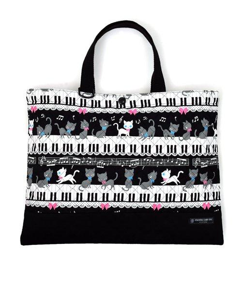 カラフルキャンディスタイル レッスンバッグ キルティング(ループ付き) ピアノの上で踊る黒猫ワルツ(ブラック) キッズ ブラック フリー 【COLORFUL CANDY STYLE】