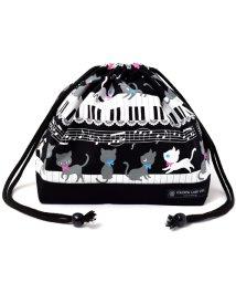 COLORFUL CANDY STYLE/巾着 中 マチ有りお弁当袋(ネームタグ付き) ピアノの上で踊る黒猫ワルツ(ブラック)×オックス・黒/501299415
