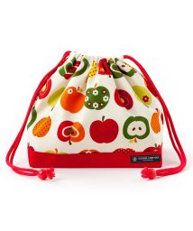 COLORFUL CANDY STYLE/巾着 中 マチ有りお弁当袋(ネームタグ付き) おしゃれリンゴのひみつ(アイボリー)×オックス・赤/501299416