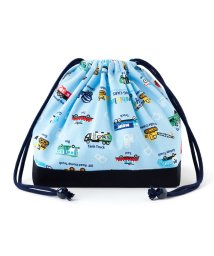 COLORFUL CANDY STYLE/巾着 中 マチ有りお弁当袋(ネームタグ付き) アクセル全開はたらく車(ライトブルー)×オックス・紺/501299418