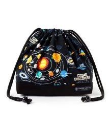 COLORFUL CANDY STYLE/巾着 中 マチ有りお弁当袋(ネームタグ付き) 太陽系惑星とコスモプラネタリウム(ブラック)×オックス・黒/501299421