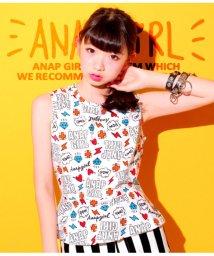 ANAP GiRL/POPロゴ総柄ペプラムトップス/501319791