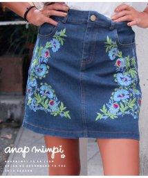 anap mimpi/フラワー刺繍デニムミニスカート/501322415