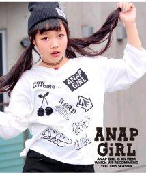 ANAP GiRL/ランダムモチーフプリントVネックトップス/501323080