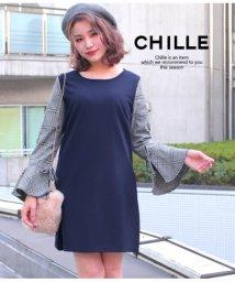 CHILLE/袖チェック切替ワンピース/501327275