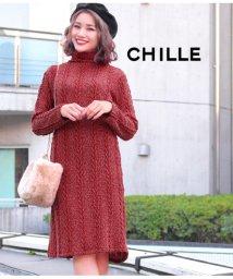 CHILLE/ケーブル柄ニットソーワンピース/501329652