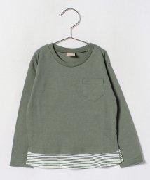 petit main/裾ボーダーポケットTシャツ/501310352
