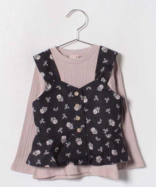 petit main(プティマイン)/花柄エプロンキャミソール×リブTシャツセット/9683215