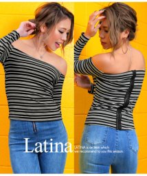 LATINA/バックデザインマルチボーダーリブトップス/501338822