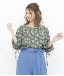 AULI/小花柄シャーリングブラウス/501340424