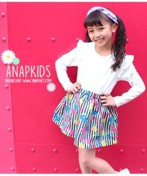 ANAP KIDS/ストライプ×花柄3Dシアーワンピース/501340602