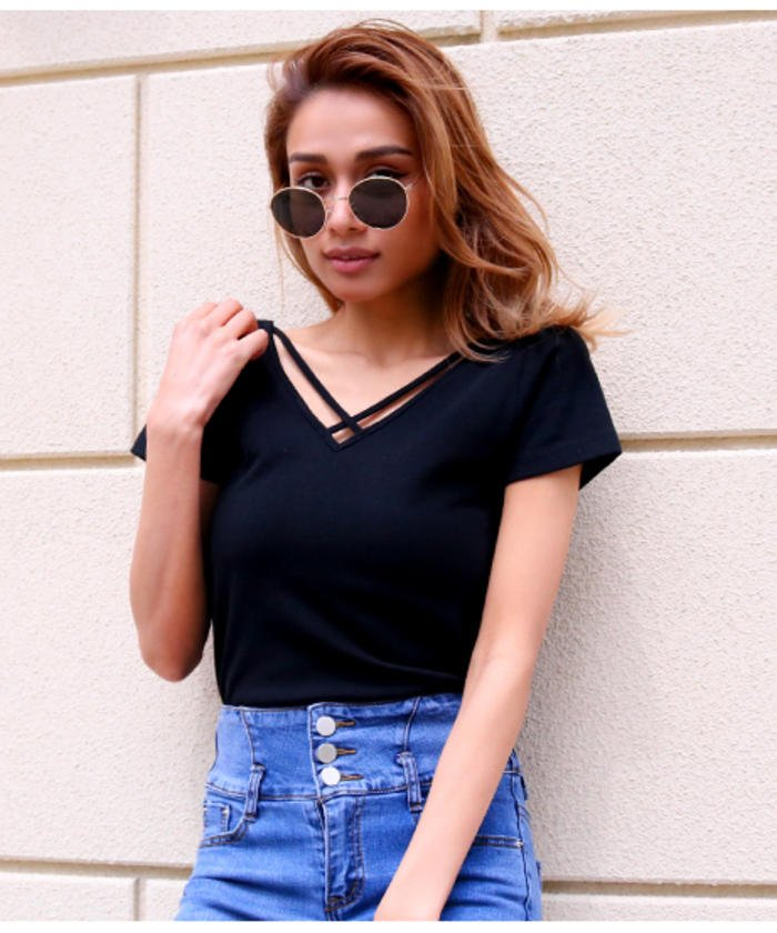 2WAYタイトTシャツ(Uネック、ク