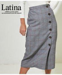 LATINA/グレンチェックタイトラップスカート/501346184