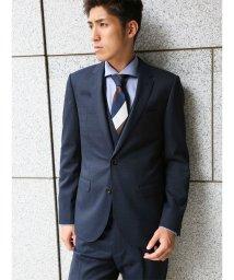TAKA-Q/ストレッチ光沢ピンチェック紺 3ピーススーツA体 スリムフィット/501302864