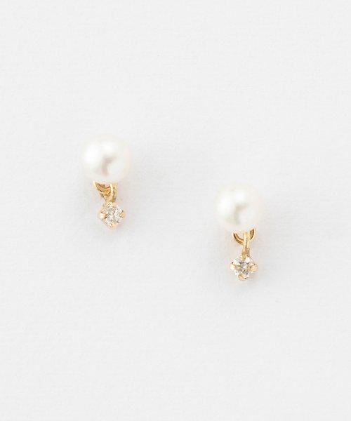 phoebe(フィービィー)/【K10】ダイヤモンドスウィングパールピアス/501851454