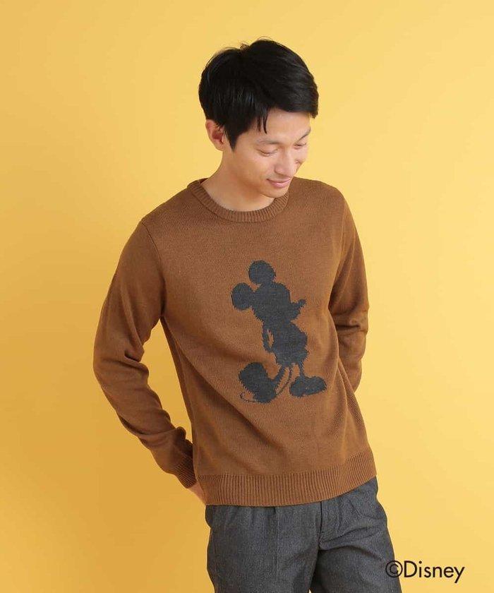 DISNEY(ディズニー)/シルエットミッキーマウスデザインアクリルジャガードクルーネックニット[WEB限定サイズ]