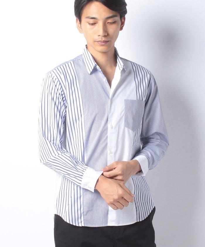 メンズビギクレイジーパターンストライプシャツメンズブルーS【Men's Bigi】