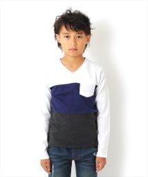 GLAZOS/Vネック3カラー切り替え厚手長袖Tシャツ[2色展開]/501351204