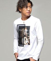 CavariA/CavariA【キャバリア】フォトプリント別布メッシュ使いクルーネック長袖Tシャツ/501357446
