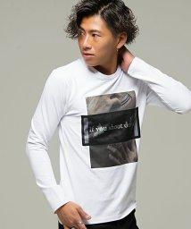 CavariA/CavariA【キャバリア】フォトプリント別布メッシュ使いクルーネック長袖Tシャツ/501357447