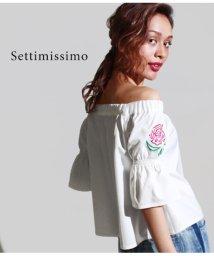 Settimissimo/フラワー刺繍オフショルダートップス/501336402