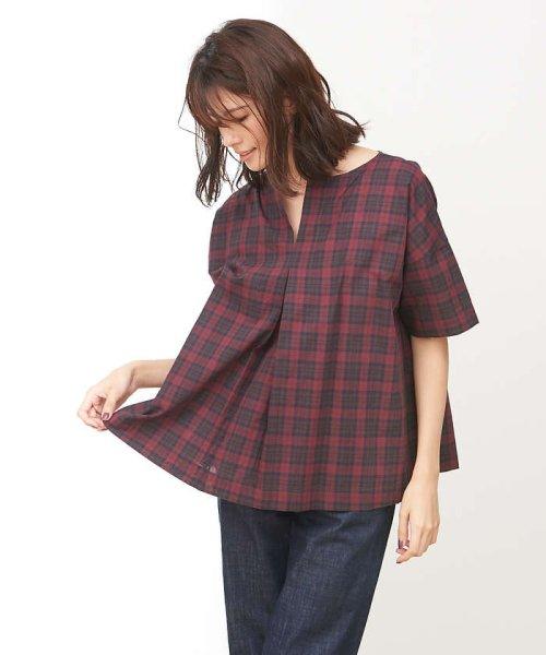 collex(collex)/コットンリネンチェックシャツ/60370605001