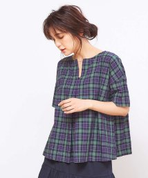 collex/コットンリネンチェックシャツ/501362006