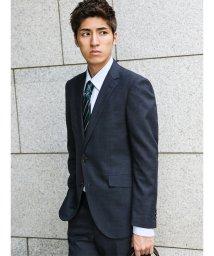 m.f.editorial/【秋冬】洗えるスラックス マイクロチェック紺 2ピーススーツA体レギュラーフィット/501365183
