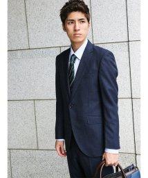 m.f.editorial/【秋冬】洗えるスラックス ストライプ紺 2ピーススーツA体レギュラーフィット/501365184