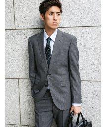 m.f.editorial/【秋冬】洗えるスラックス ハウンドトゥースグレー 2ピーススーツA体レギュラーフィット/501365185