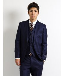m.f.editorial/【秋冬】ウール100% SUPER140'S バーズアイウィンドペン青 3ピーススーツY体スリムフィット/501365196