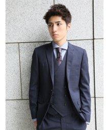 m.f.editorial/【秋冬】ストレッチ光沢ウィンドペン紺 3ピーススーツA体スリムフィット/501365197
