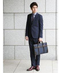 m.f.editorial/【秋冬】ストレッチ光沢カルゼ紺 2ピーススーツA体スリムフィット/501365201