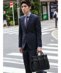 m.f.editorial/【秋冬】ストレッチ光沢カルゼ紺 2ピーススーツAB体スリムフィット/501365212