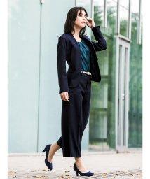 m.f.editorial/【秋冬】ストレッチウォッシャブル3ピーススーツ(スタンドジャケット+タイトスカート+ワイドパンツ)紺ジャガード/501365539