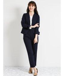 m.f.editorial/【秋冬】ストレッチ合繊2ピーススーツ(ノーカラージャケット+テーパードパンツ)紺/501365546